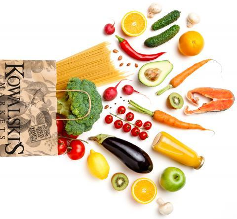 Grocery Shopping Bag with Fresh Produce, Pasta, and Meat