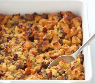 Cornbread Dressing with Sausage, Apricots & Cranberries