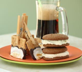 Campfire Clothespin S'mores and Root Beer Float Cookie Sandwiches