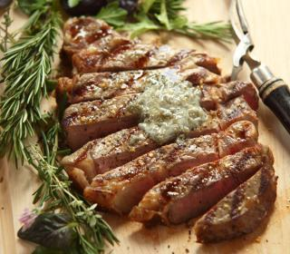 Grilled Rib-Eye with Gorgonzola Butter