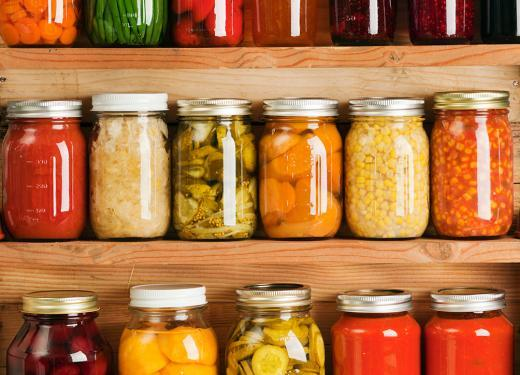 Jars of sauce, vegetables, beans, fruit, etc.