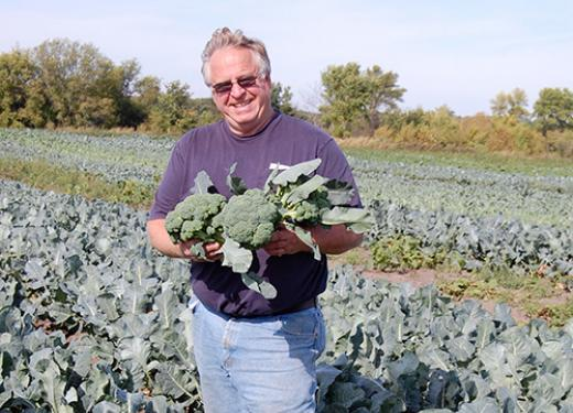 Jerry Untiedt in Broccoli Field