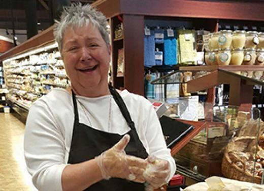 Kathie Armstrong of Kathie's Bakery demoing her product in the Kowalski's Bakery Department