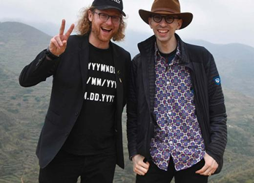 Nate and David on a trip to China to visit the fields where the tea leaves for their kombucha tea are grown