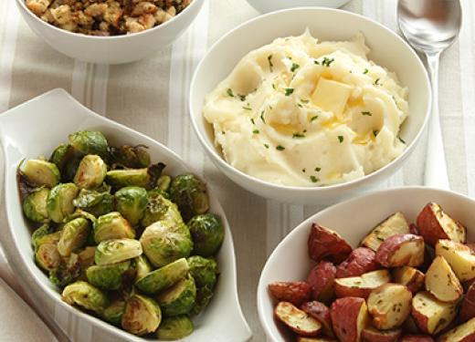 Thanksgiving Sides from Kowalski's Deli Department: Mashed Potatoes, Roasted Brussels Sprouts, Red Potatoes, and Stuffing