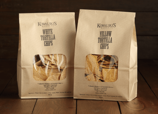Bags of Kowalski's White and Yellow Tortilla Chips