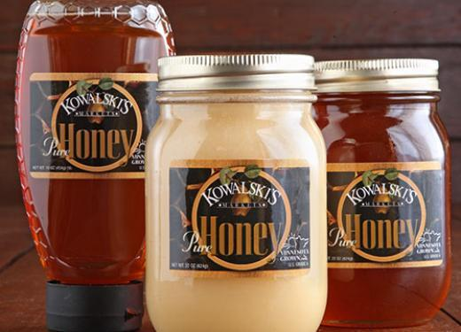 Jars and Bottle of Kowalski's Honey