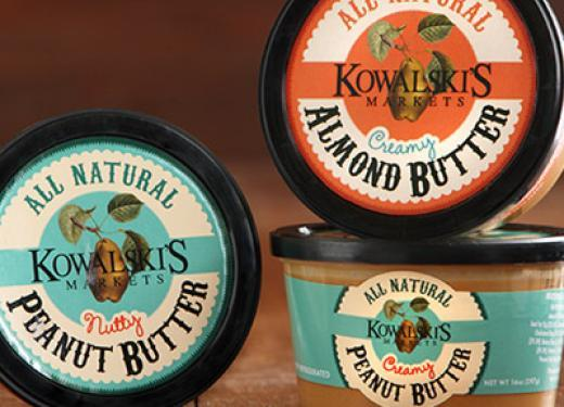 Packages of Kowalski's Peanut and Almond Butters