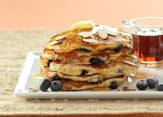 Blueberry Banana-Almond Pancakes