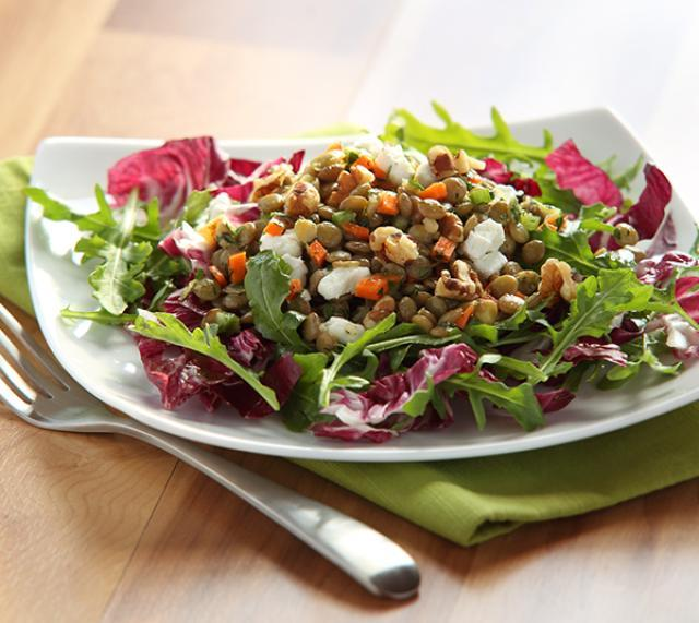 Lemony Lentil and Goat Cheese Salad