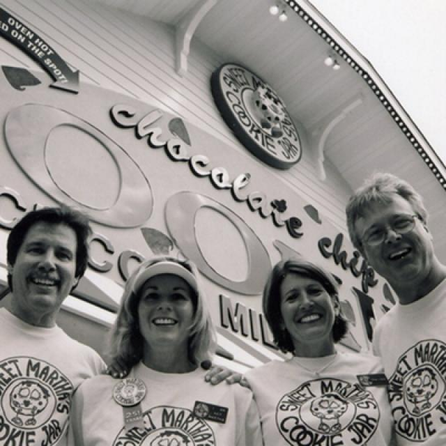 Sweet Martha's Cookie Jar owners in front of their shopfront at the Minnesota State Fair