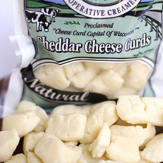 Closeup of Ellsworth Cheese Curds and package