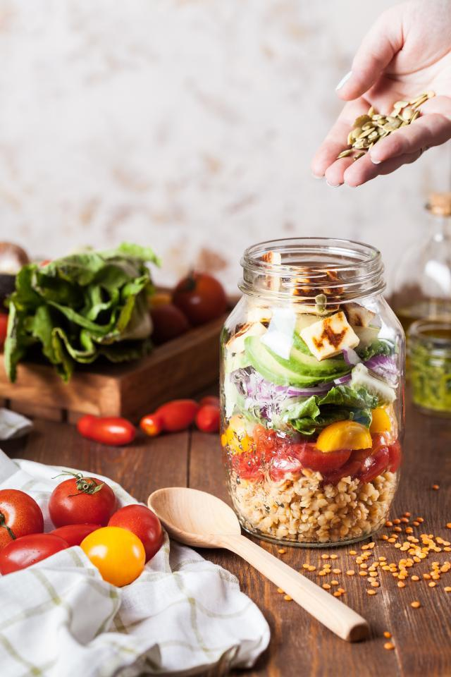 Veggies, Grains and Proteins in a Jar