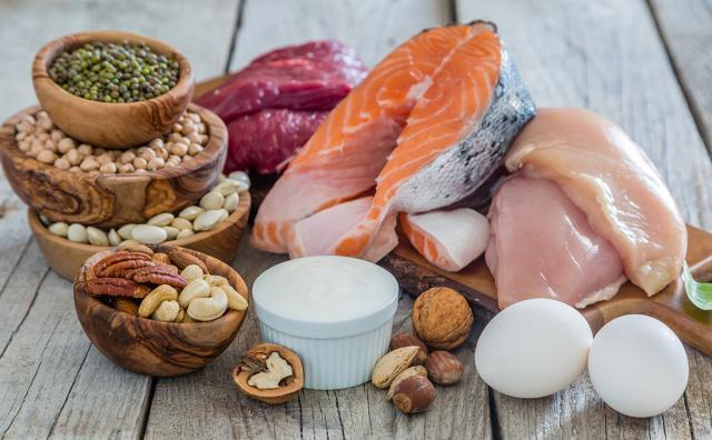 High-Protein Foods, including fish, chicken, eggs, yogurt and beans