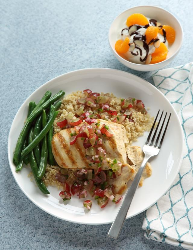 Grilled Chicken Dinner with Grape Salsa