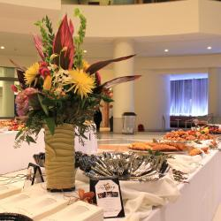 Large Floral Arrangement on Buffet Table