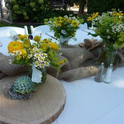 Yellow and Green Floral Table Setting