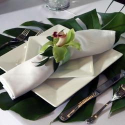 Plate and Napkin with Orchid