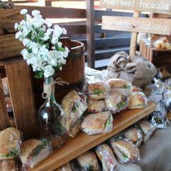 Premade Sandwiches and White Flowers