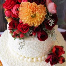 Red and Orange Floral Cake