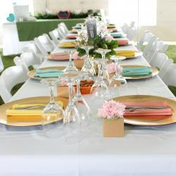 Yellow, Blue Pink Napkins on Gold Plates