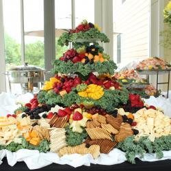 Four Tired Fruit Tray with Cheese and Crackers
