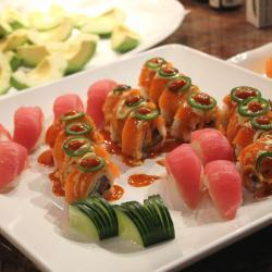 Tuna Sashimi and Sushi Roll Plate