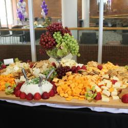 Wooden Cheese Tray with Grapes