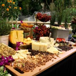 Cheese Nuts and Grapes Table Spread
