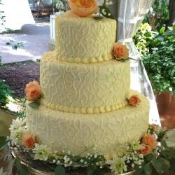 Three Tiered Cake, Peach Flowers
