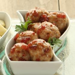 Turkey Meatballs with Apple Cranberry Glaze