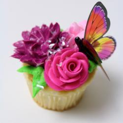 Floral with Butterfly Cupcake