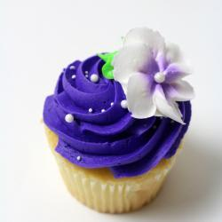 Purple Iced with Flower Cupcake