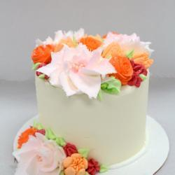 "5"" Orange, Red, Pink Flower Cake"