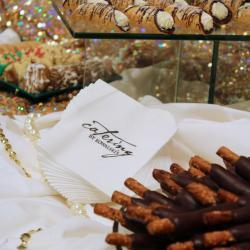 Mini Cannolis and Caramel Wrapped Chocolate Dipped Pretzels