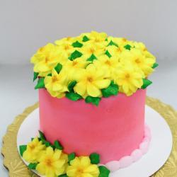 "5"" Pink Cake with Yellow Flowers"