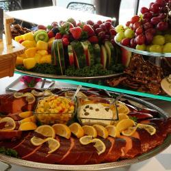 Honey Smoked Salmon and Fruit & Cheese Display