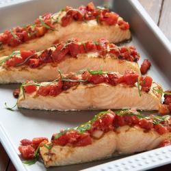 Fire-Roasted Tomato Bruschetta Salmon