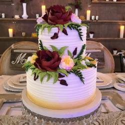 Wedding Cake with Burgundy Flowers